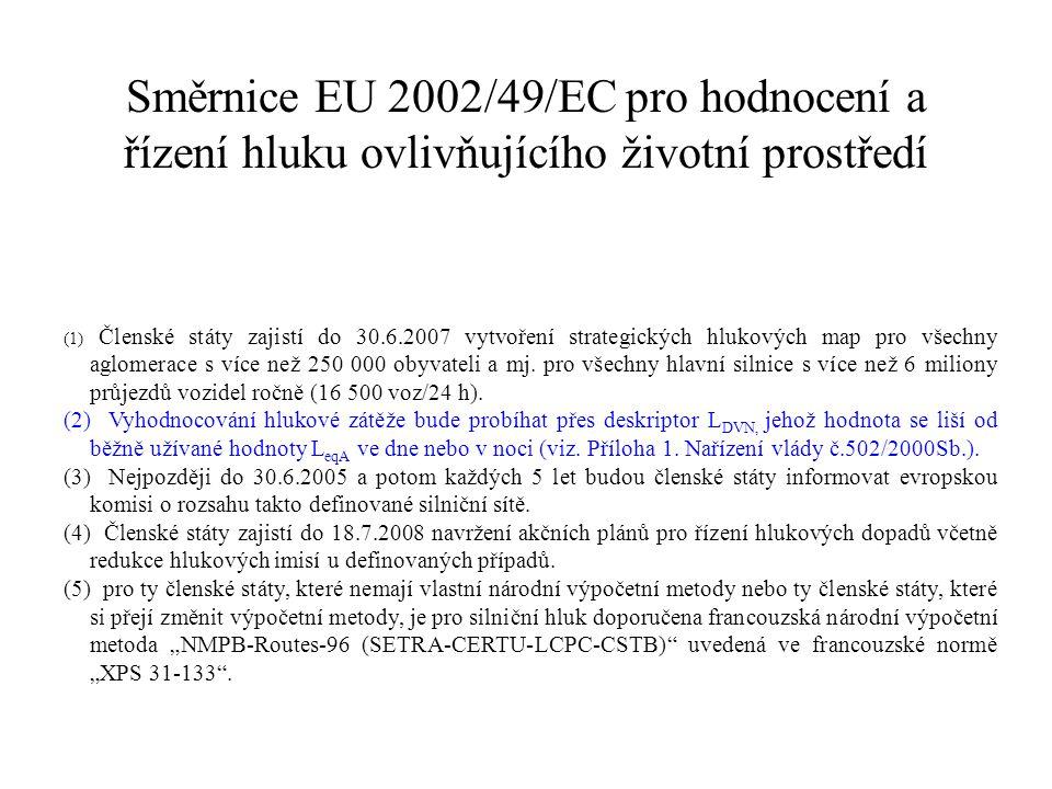 Směrnice EU 2002/49/EC pro hodnocení a řízení hluku ovlivňujícího životní prostředí