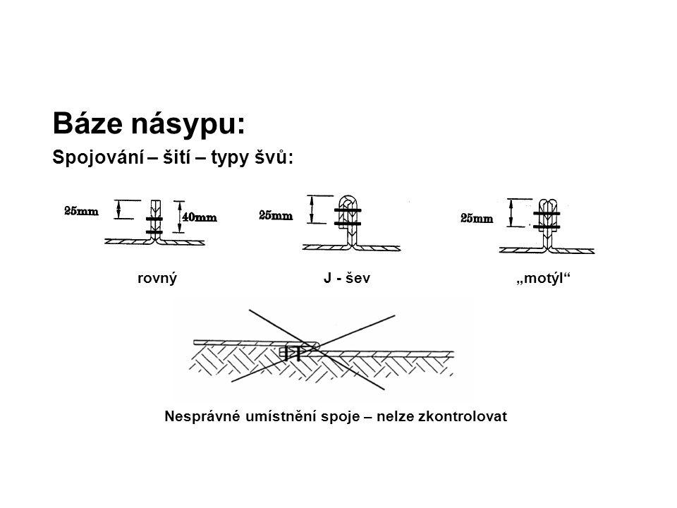 """Báze násypu: Spojování – šití – typy švů: rovný J - šev """"motýl"""