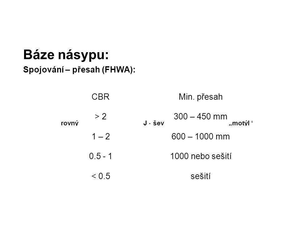 Báze násypu: Spojování – přesah (FHWA): CBR Min. přesah > 2