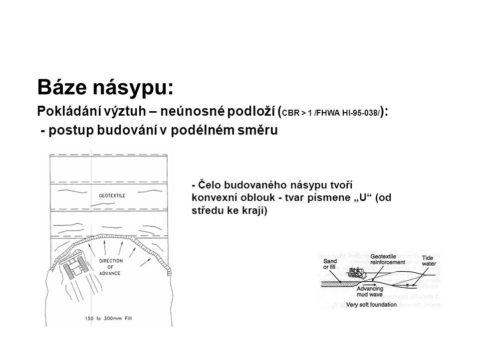 Báze násypu: Pokládání výztuh – neúnosné podloží (CBR > 1 /FHWA HI-95-038/): - postup budování v podélném směru.