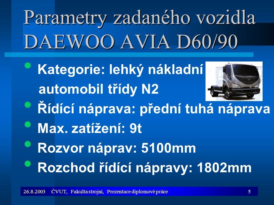 Parametry zadaného vozidla DAEWOO AVIA D60/90