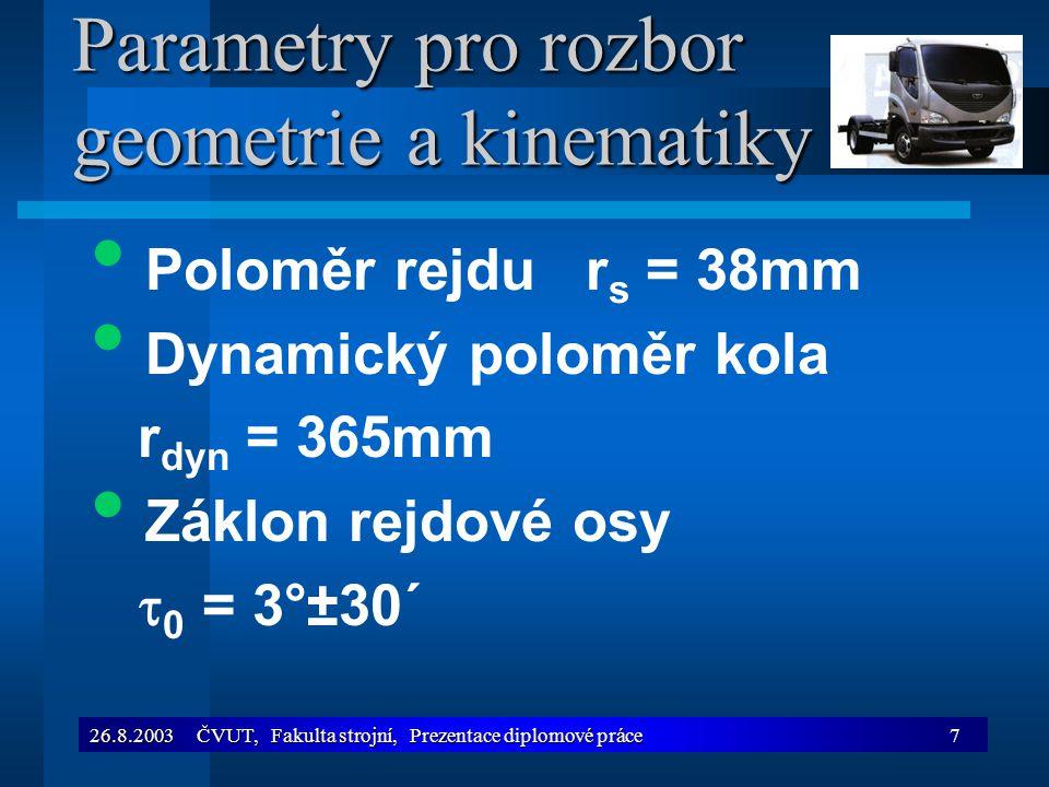Parametry pro rozbor geometrie a kinematiky