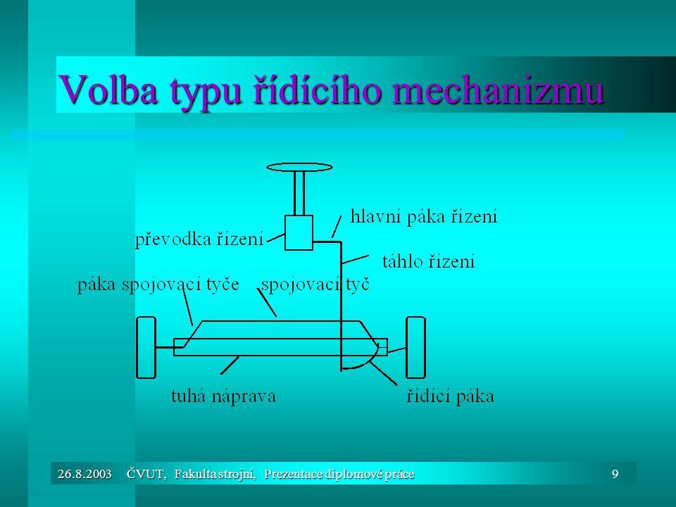 Volba typu řídícího mechanizmu