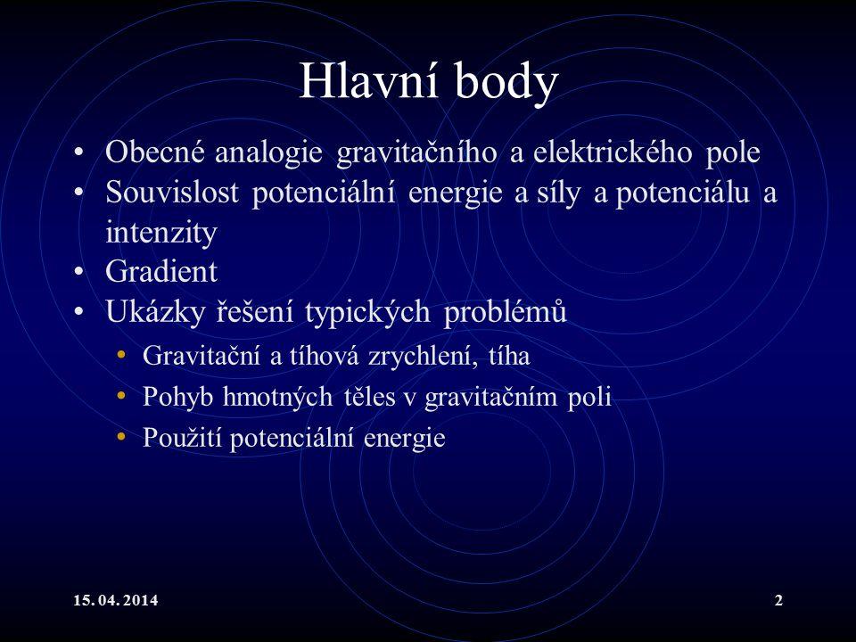 Hlavní body Obecné analogie gravitačního a elektrického pole