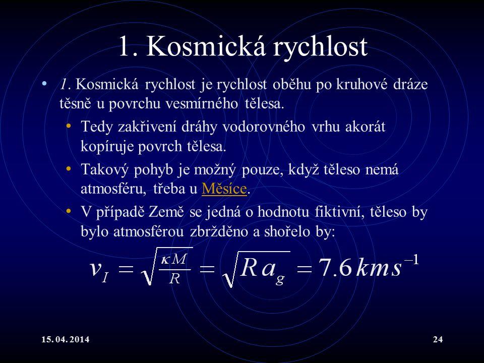 1. Kosmická rychlost 1. Kosmická rychlost je rychlost oběhu po kruhové dráze těsně u povrchu vesmírného tělesa.