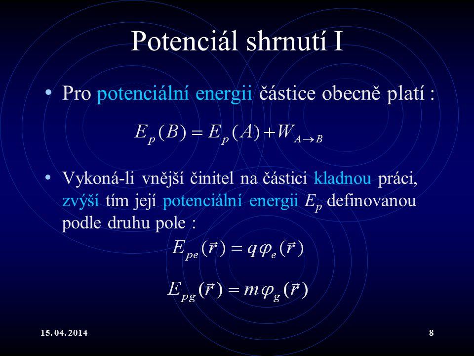 Potenciál shrnutí I Pro potenciální energii částice obecně platí :