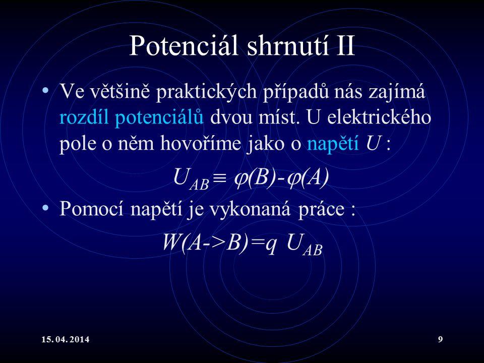 Potenciál shrnutí II UAB  (B)-(A) W(A->B)=q UAB