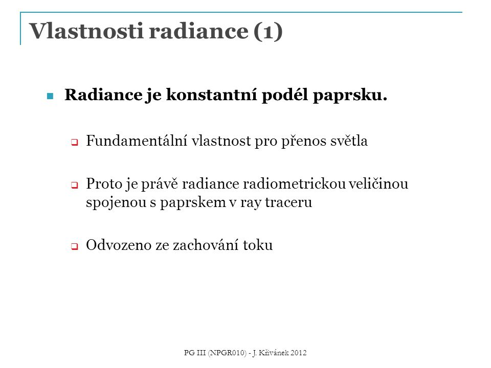 Vlastnosti radiance (1)