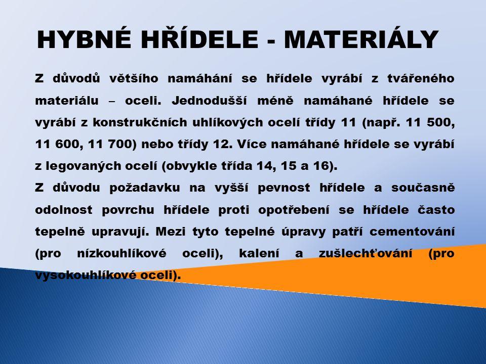 HYBNÉ HŘÍDELE - MATERIÁLY