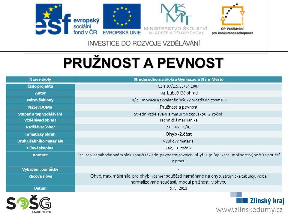 PRUŽNOST A PEVNOST www.zlinskedumy.cz Název školy