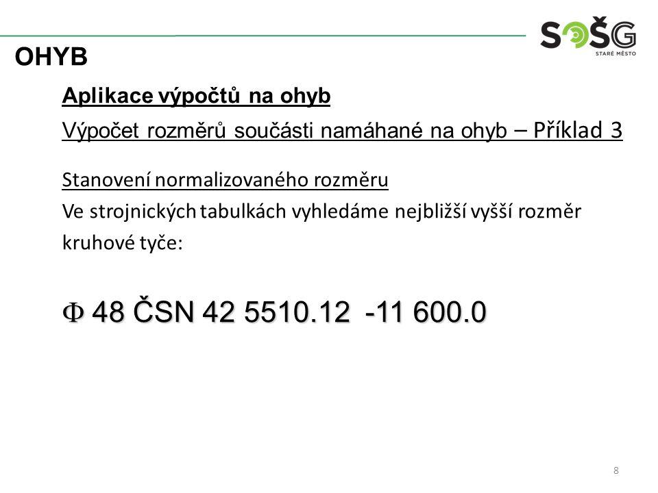 F 48 ČSN 42 5510.12 -11 600.0 OHYB Aplikace výpočtů na ohyb