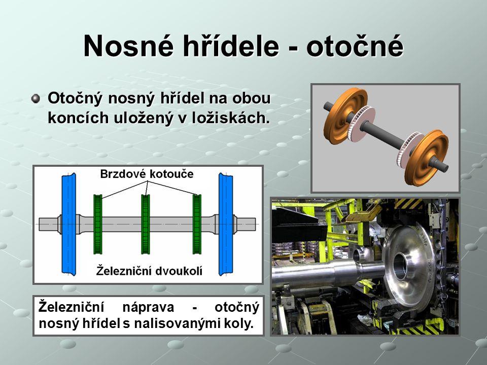 Nosné hřídele - otočné Otočný nosný hřídel na obou koncích uložený v ložiskách.