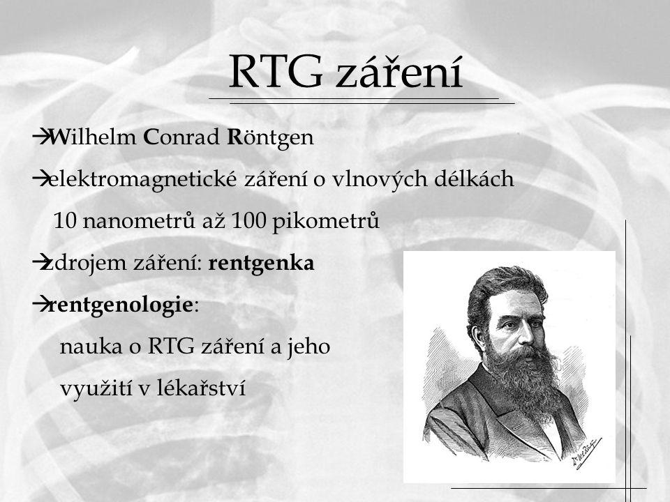 RTG záření Wilhelm Conrad Röntgen