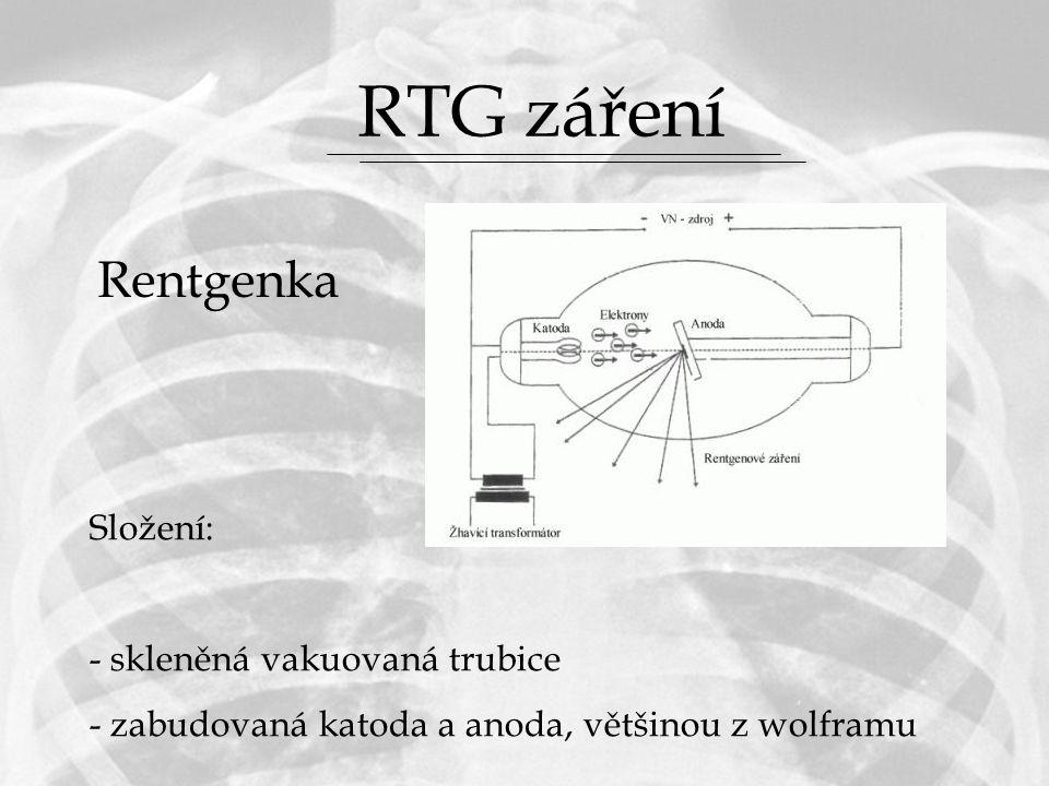 RTG záření Rentgenka Složení: skleněná vakuovaná trubice
