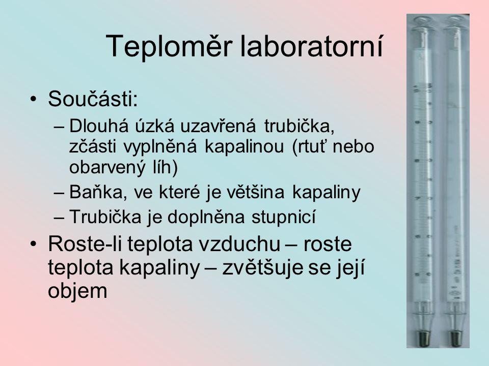 Teploměr laboratorní Součásti: