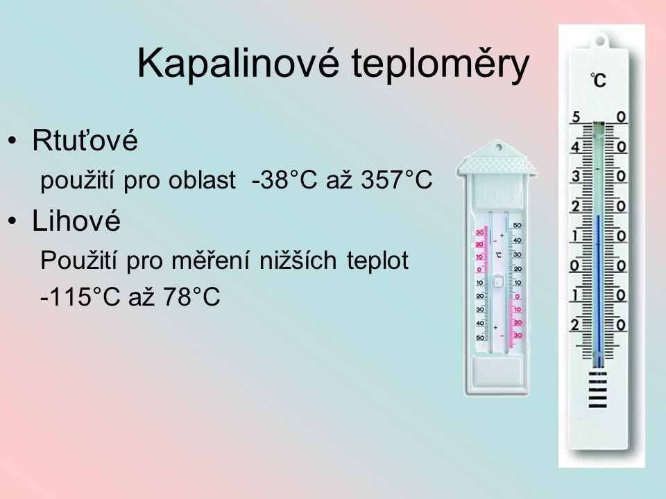 Kapalinové teploměry Rtuťové Lihové použití pro oblast -38°C až 357°C