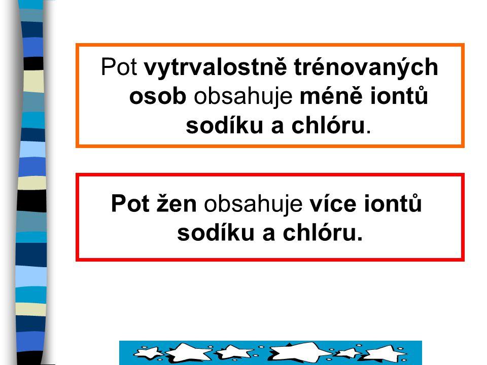 Pot vytrvalostně trénovaných osob obsahuje méně iontů sodíku a chlóru.
