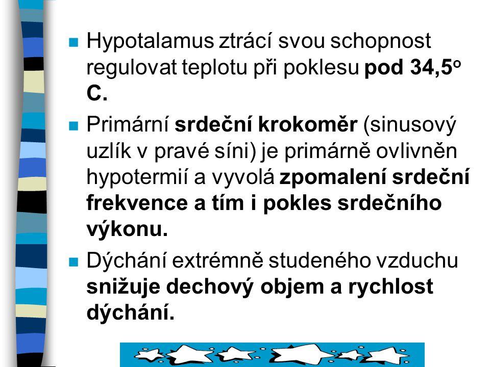 Hypotalamus ztrácí svou schopnost regulovat teplotu při poklesu pod 34,5o C.