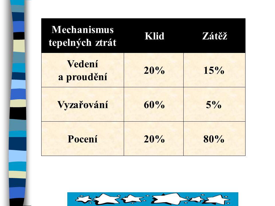 Mechanismus tepelných ztrát Klid Zátěž Vedení a proudění 20% 15% Vyzařování 60% 5% Pocení 20% 80%