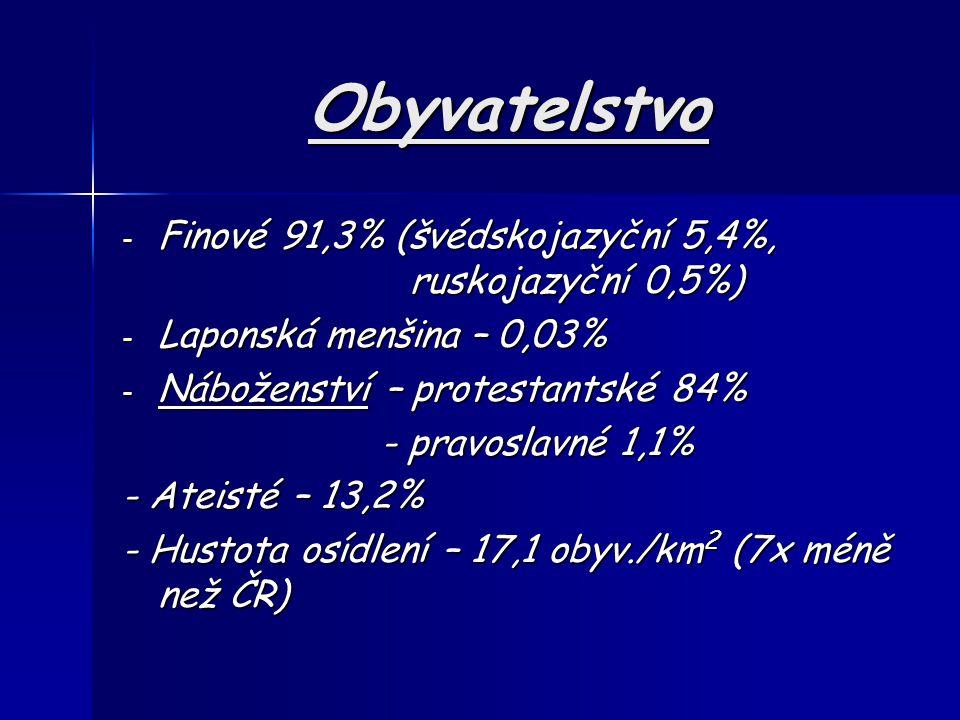 Obyvatelstvo Finové 91,3% (švédskojazyční 5,4%, ruskojazyční 0,5%)