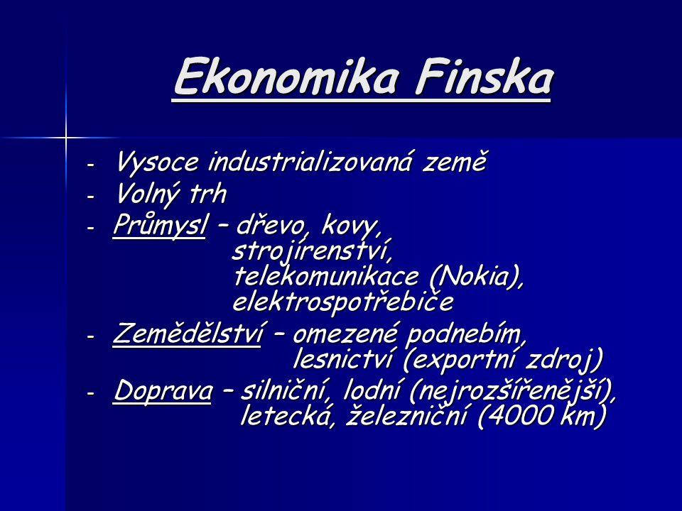 Ekonomika Finska Vysoce industrializovaná země Volný trh