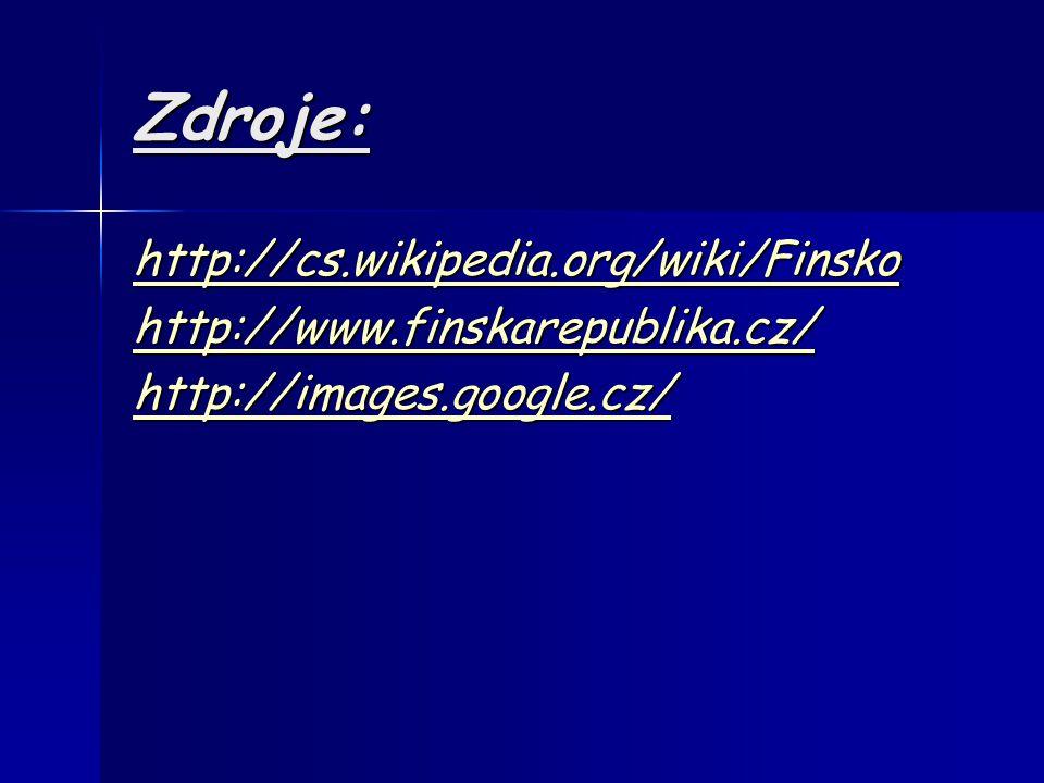 Zdroje: http://cs.wikipedia.org/wiki/Finsko