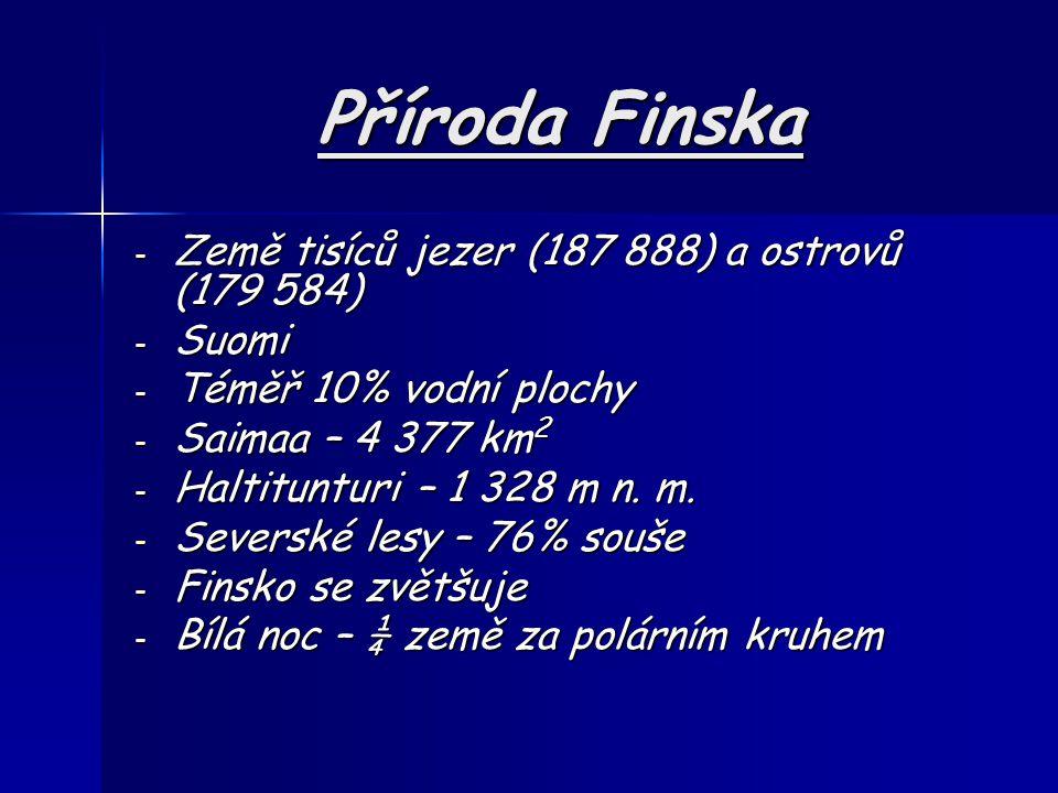 Příroda Finska Země tisíců jezer (187 888) a ostrovů (179 584) Suomi
