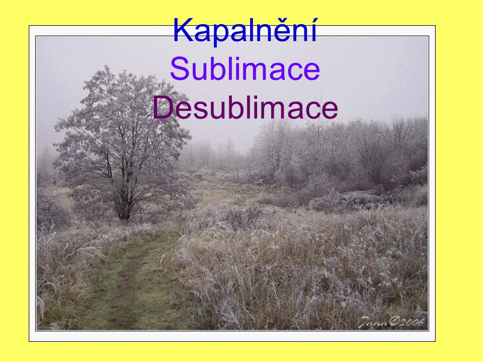 Kapalnění Sublimace Desublimace
