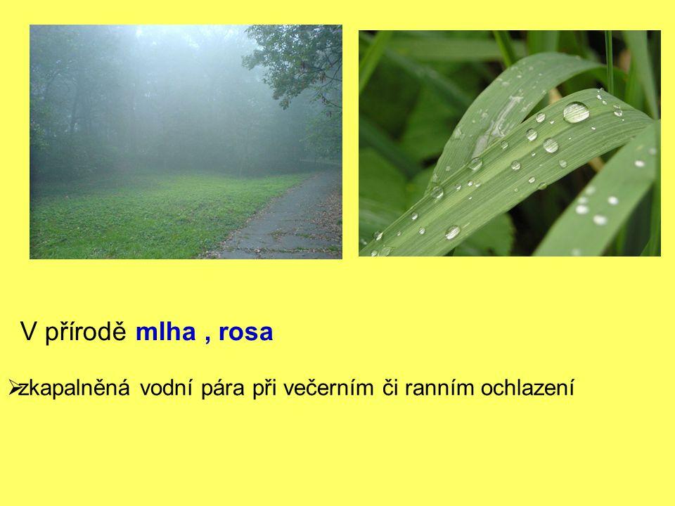 V přírodě mlha , rosa zkapalněná vodní pára při večerním či ranním ochlazení