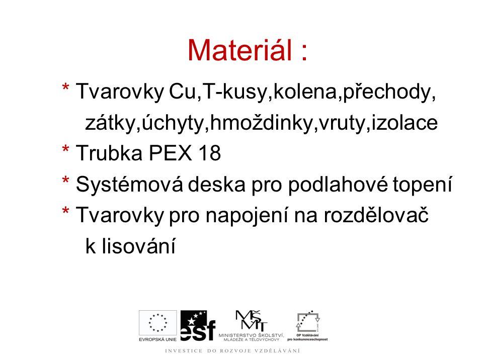 Materiál : * Tvarovky Cu,T-kusy,kolena,přechody,