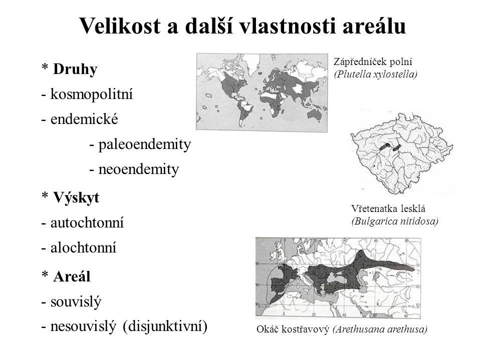 Velikost a další vlastnosti areálu
