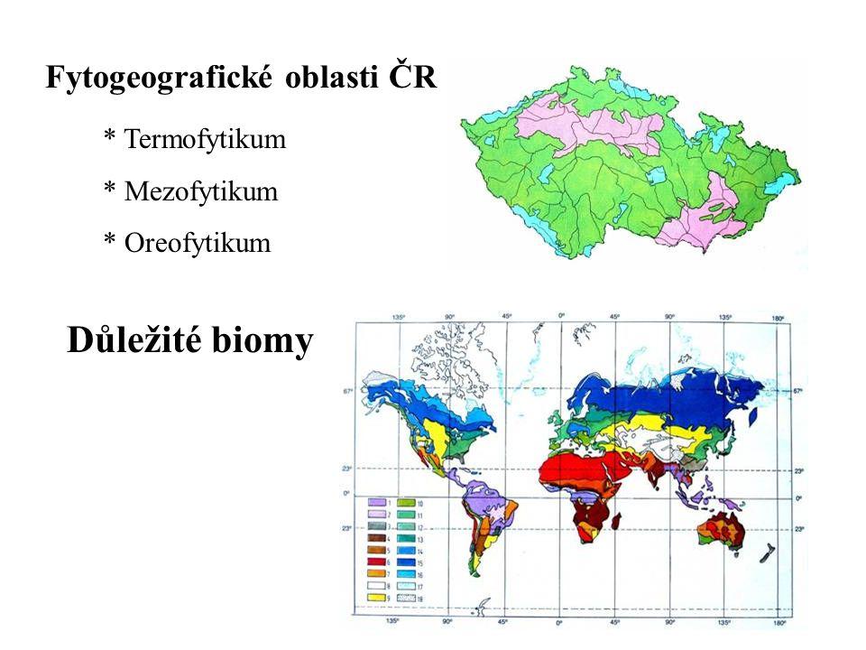 Důležité biomy Fytogeografické oblasti ČR Termofytikum Mezofytikum