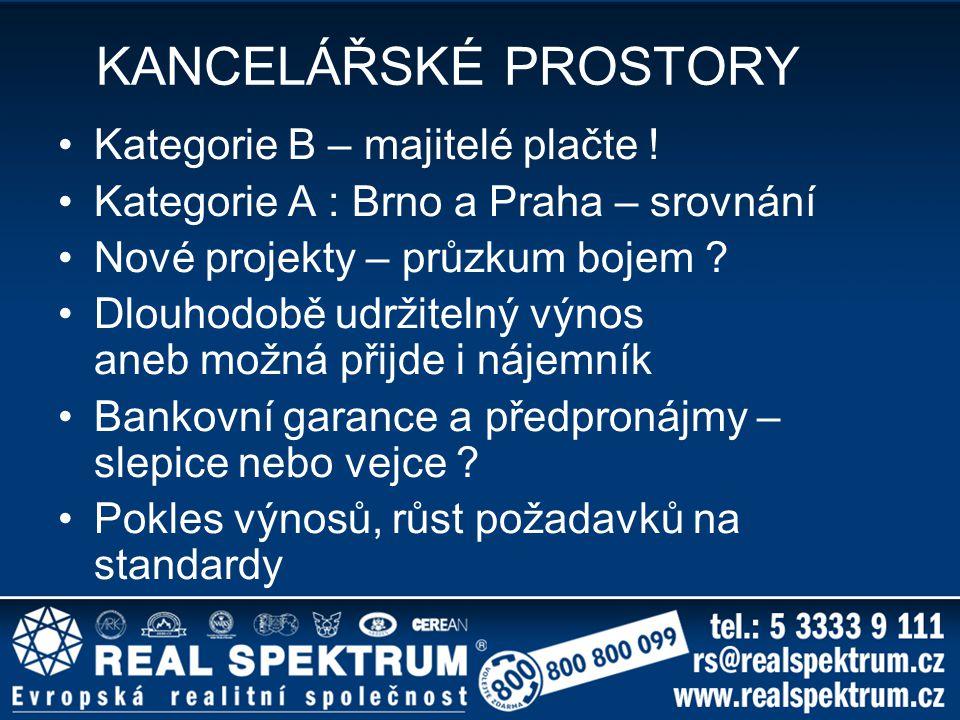 KANCELÁŘSKÉ PROSTORY Kategorie B – majitelé plačte !