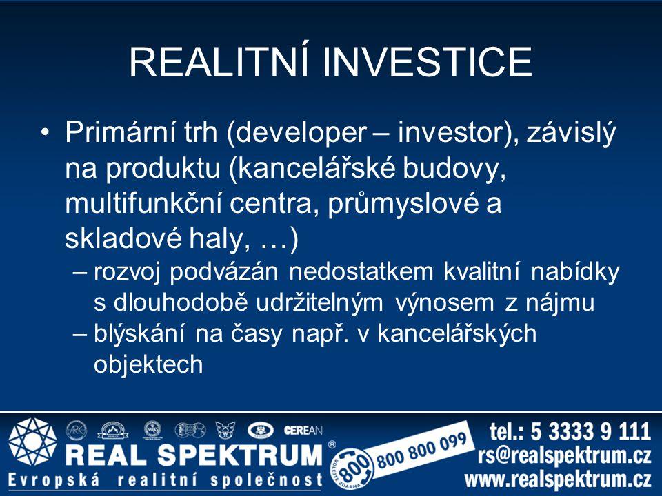 REALITNÍ INVESTICE Primární trh (developer – investor), závislý na produktu (kancelářské budovy, multifunkční centra, průmyslové a skladové haly, …)