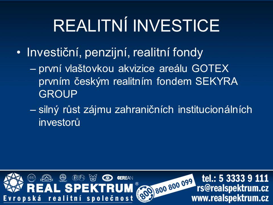 REALITNÍ INVESTICE Investiční, penzijní, realitní fondy