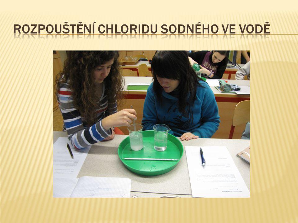 Rozpouštění chloridu sodného ve vodě