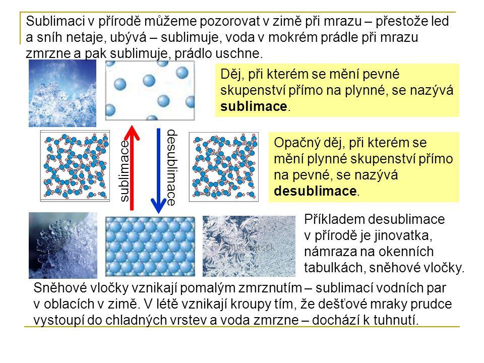 Sublimaci v přírodě můžeme pozorovat v zimě při mrazu – přestože led a sníh netaje, ubývá – sublimuje, voda v mokrém prádle při mrazu zmrzne a pak sublimuje, prádlo uschne.