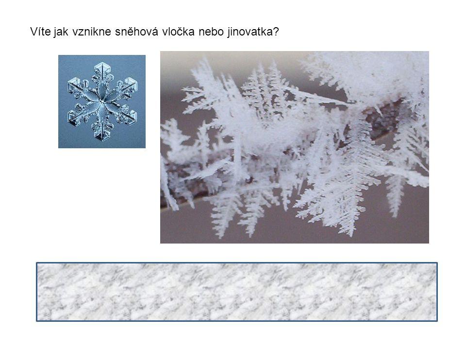 Víte jak vznikne sněhová vločka nebo jinovatka