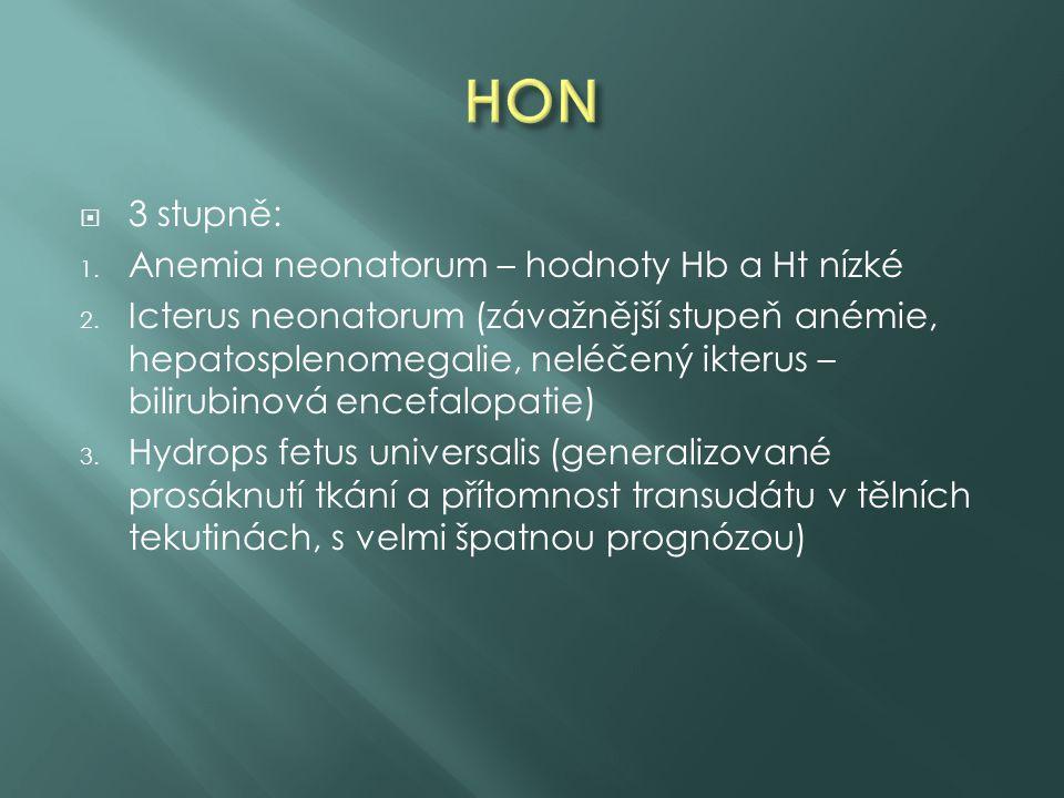 HON 3 stupně: Anemia neonatorum – hodnoty Hb a Ht nízké