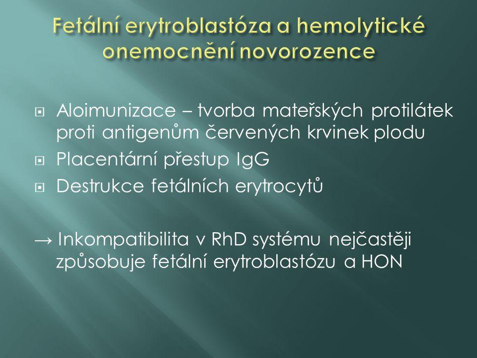 Fetální erytroblastóza a hemolytické onemocnění novorozence