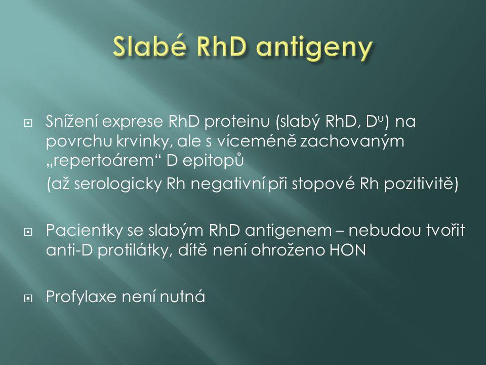 """Slabé RhD antigeny Snížení exprese RhD proteinu (slabý RhD, Du) na povrchu krvinky, ale s víceméně zachovaným """"repertoárem D epitopů."""