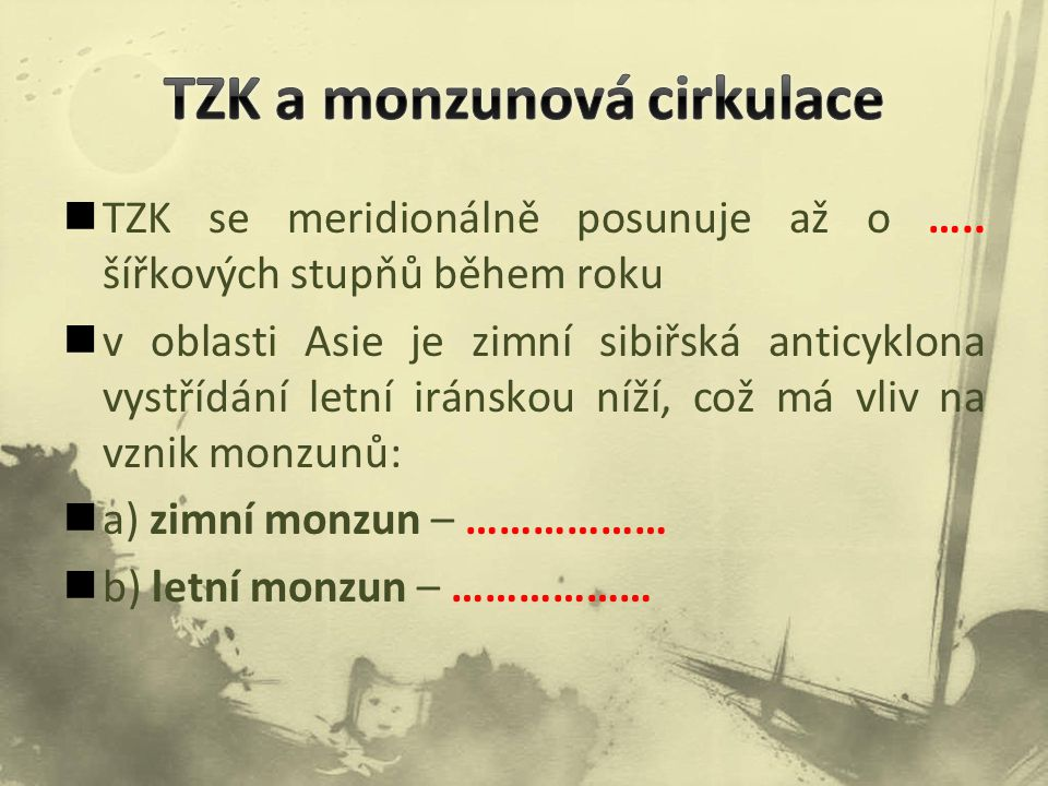 TZK a monzunová cirkulace