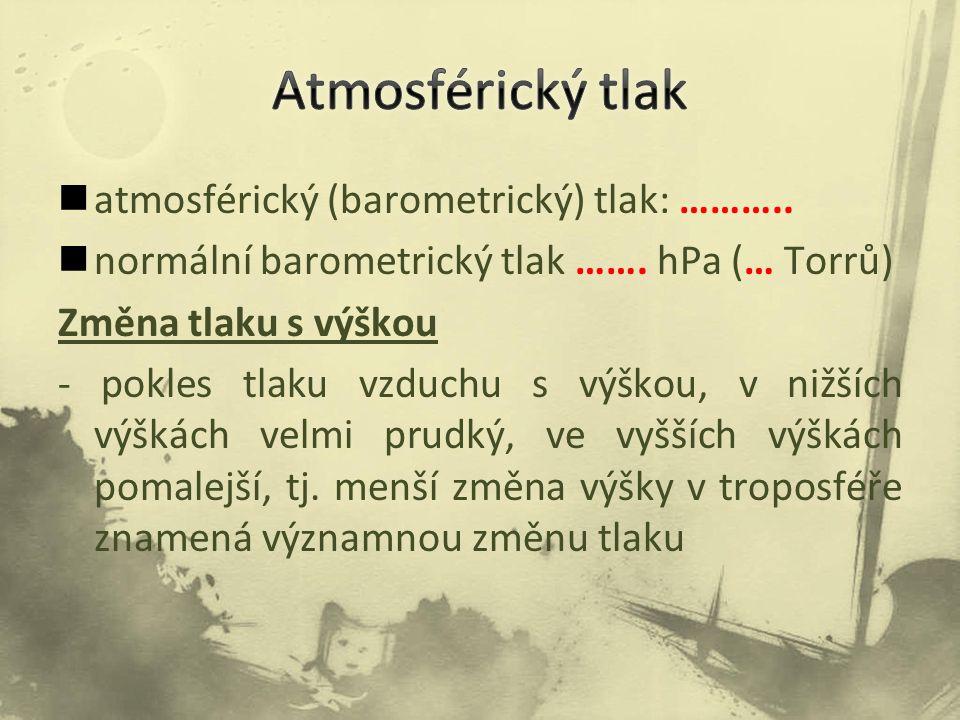 Atmosférický tlak atmosférický (barometrický) tlak: ………..