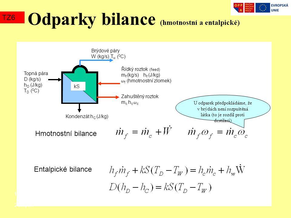 Odparky bilance (hmotnostní a entalpické)