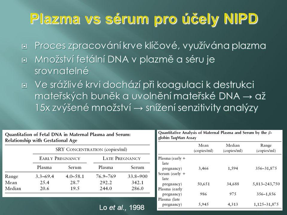 Plazma vs sérum pro účely NIPD