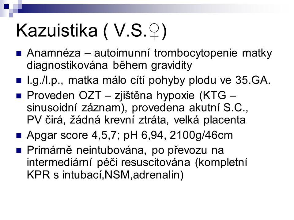 Kazuistika ( V.S.♀) Anamnéza – autoimunní trombocytopenie matky diagnostikována během gravidity. I.g./I.p., matka málo cítí pohyby plodu ve 35.GA.