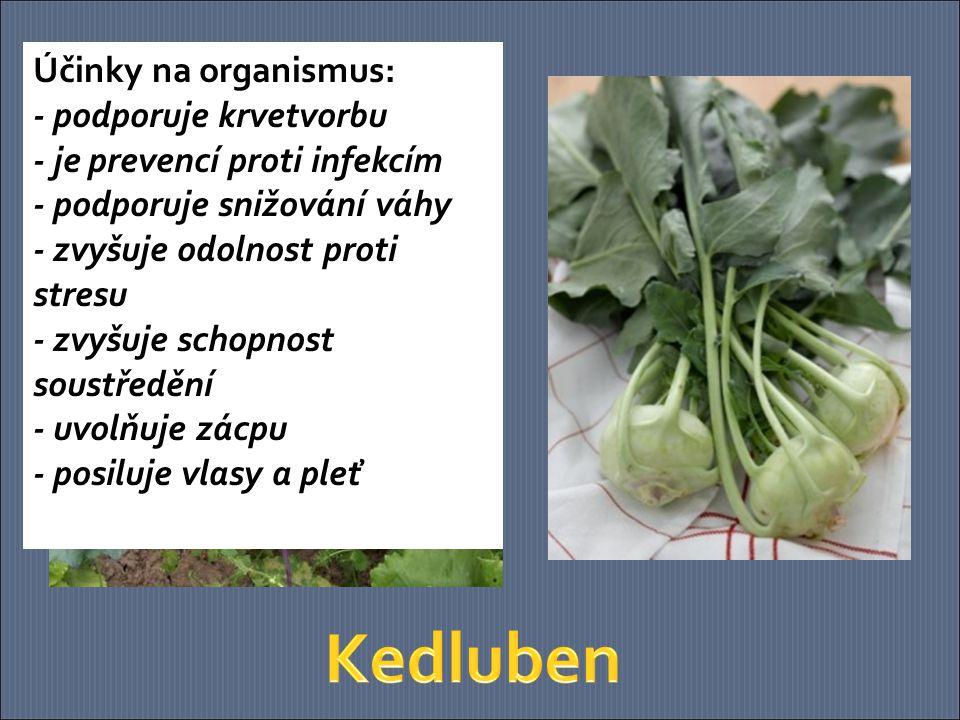 Účinky na organismus: - podporuje krvetvorbu - je prevencí proti infekcím - podporuje snižování váhy - zvyšuje odolnost proti stresu - zvyšuje schopnost soustředění - uvolňuje zácpu