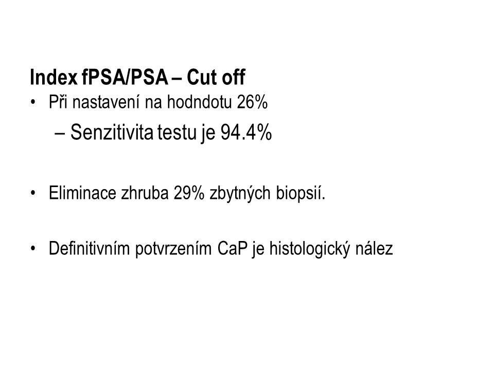Index fPSA/PSA – Cut off