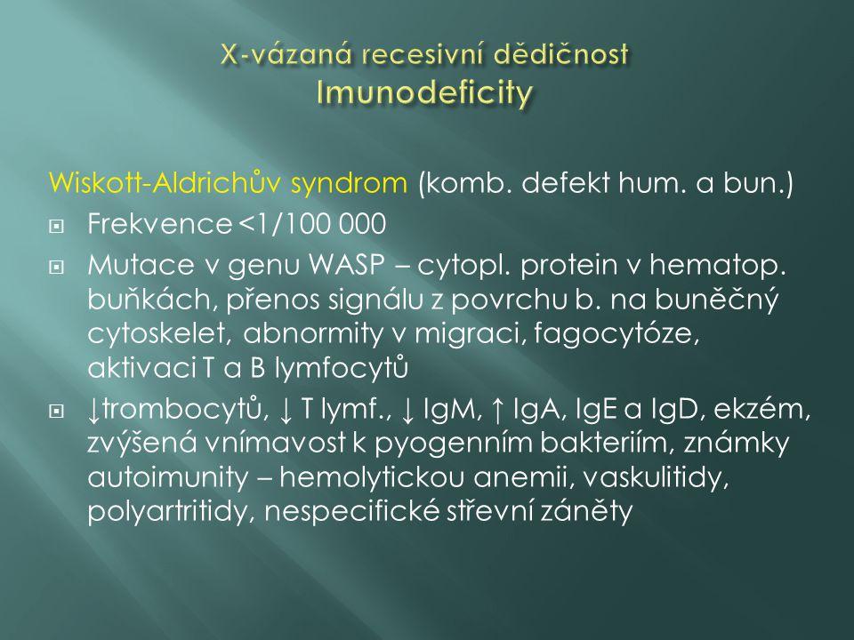 X-vázaná recesivní dědičnost Imunodeficity