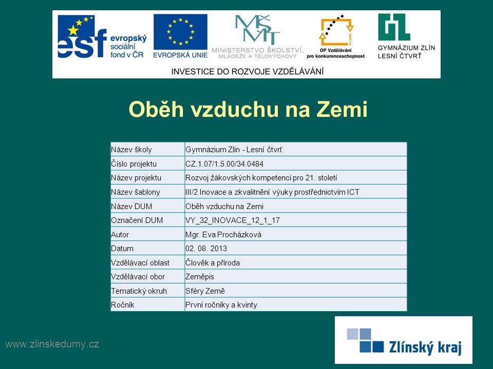 Oběh vzduchu na Zemi www.zlinskedumy.cz Název školy